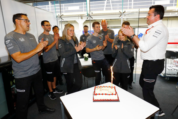 Interlagos, Sao Paulo, Brazil. Thursday 09 November 2017. Eric Boullier, Racing Director, McLaren, gets a Birthday cake from the team. World Copyright: Steven Tee/LAT Images  ref: Digital Image _R3I7056
