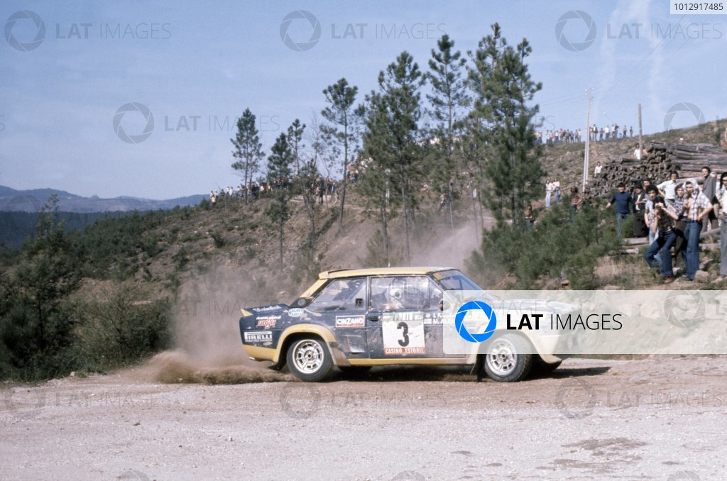 1977 World Rally Championship.Portuguese Rally, Portugal. 1-6 March 1977.Markku Alen/Ilkka Kivimaki (Fiat 131 Abarth), 1st position.World Copyright: LAT PhotographicRef: 35mm transparency 77RALLY11