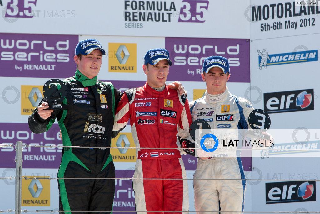 ALCANIZ (ESP) MAY 4-6 2012 -  First Round of the Formula Renault 3 5 Series 2012 at Motorland Aragon. Rookie podium race 2: Robin Frijns #4 Fortec, Will Stevens #2 Carlin. podium. © 2012 Sebastiaan Rozendaal / LAT Photographic