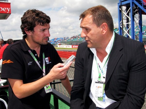 Will Buxton (GBR) GPWeek.com with Simon Gillett (GBR) Chief Executive of Donington Park. Formula One World Championship, Rd 9, British Grand Prix, Practice Day, Silverstone, England, Friday 4 July 2008.