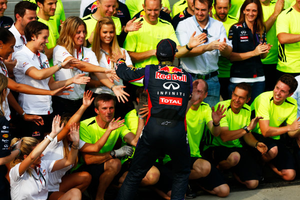 Hungaroring, Budapest, Hungary. Sunday 27 July 2014. Daniel Ricciardo, Red Bull Racing, 1st Position, and the Red Bull team celebrate victory. World Copyright: Andy Hone/LAT Photographic. ref: Digital Image _ONY2833