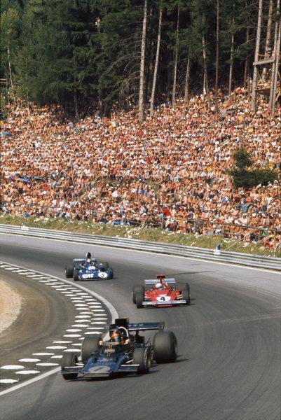1973 Austrian Grand Prix.  Osterreichring, Austria. 17-19th August 1973.  Emerson Fittipaldi, Lotus 72E Ford, leads Arturo Merzario, Ferrari 312B3, and Jackie Stewart, Tyrrell 006 Ford.  Ref: 73AUT09. World Copyright: LAT Photographic