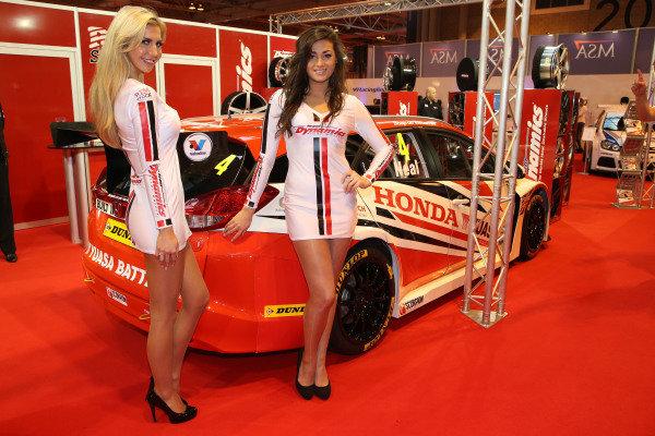 Honda BTCC girls. Autosport International Show, NEC, Birmingham, England, Day One, 9 January 2014.
