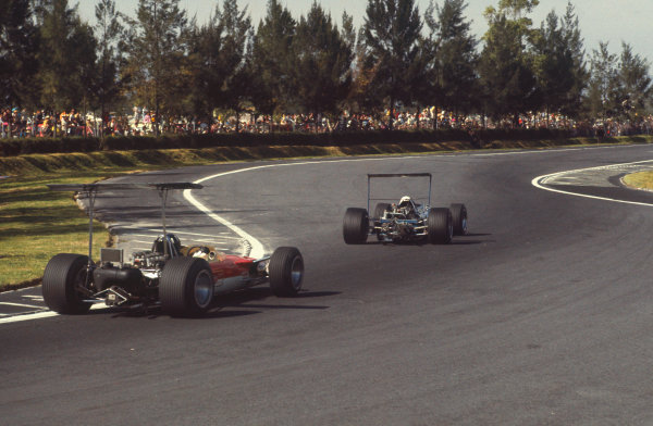 Mexico City, Mexico. 1-3rd November 1968.  Jackie Stewart, Matra MS10 Ford, leads Graham Hill, Lotus 49B Ford.  Ref: 68MEX26. World Copyright: LAT Photographic