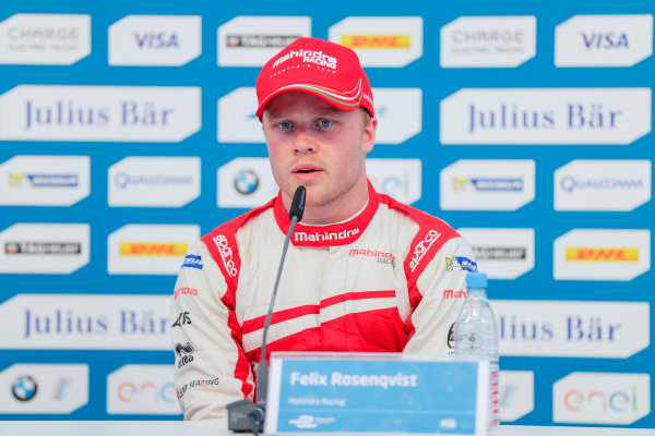 2016/2017 FIA Formula E Championship. Round 7 - Berlin ePrix, Tempelhof Airport, Berlin, Germany. Saturday 10 June 2017. Felix Rosenqvist (SWE), Mahindra Racing, Spark-Mahindra, Mahindra M3ELECTRO, in the press conference. Photo: Zak Mauger/LAT/Formula E ref: Digital Image _56I4353