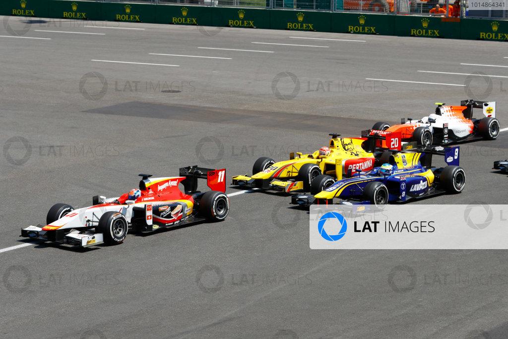 Baku City Circuit, Baku, Azerbaijan. Sunday 25 June 2017 Ralph Boschung (SUI, Campos Racing) leads Oliver Rowland (GBR, DAMS)  Photo: /FIA Formula 2 ref: Digital Image _R3I3578