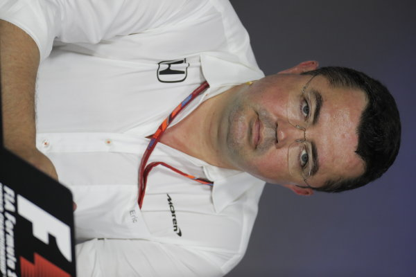 Baku City Circuit, Baku, Azerbaijan. Friday 23 June 2017. Eric Boullier, Racing Director, McLaren, in the Team Principals' Press Conference. World Copyright: Zak Mauger/LAT Images ref: Digital Image _54I0954