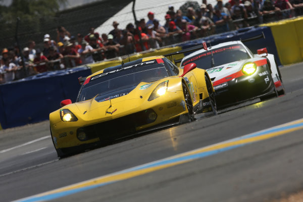 2017 Le Mans 24 Hours Circuit de la Sarthe, Le Mans, France. Saturday 17th June 2017 #64 Corvette Racing-GM Chevrolet Corvette C7.R: Oliver Gavin, Tommy Milner, Marcel Fassler  World Copyright: JEP/LAT Images