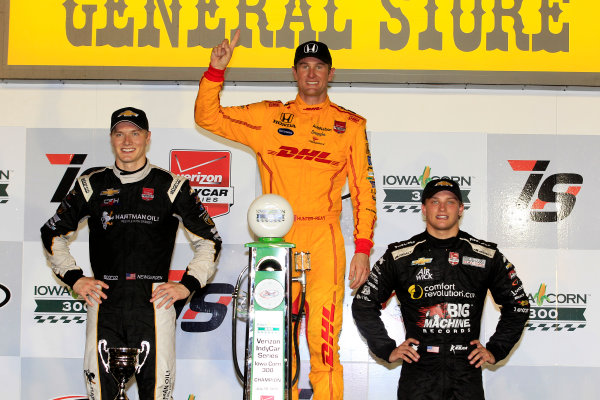 17-18 July, 2015, Newton, Iowa USA Ryan Hunter-Reay, Josef Newgarden and Sage Karam celebrate on the podium ?2015, Phillip Abbott LAT Photo USA