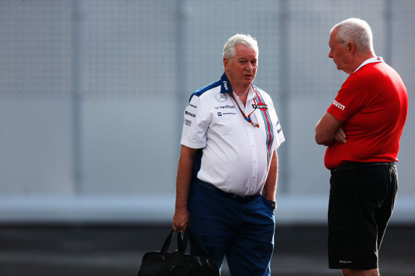 Autodromo Hermanos Rodriguez, Mexico City, Mexico. Friday 30 October 2015. Pat Symonds, Chief Technical Officer, Williams F1, and John Booth, Team Principal, Manor Marussia F1. World Copyright: Alastair Staley/LAT Photographic ref: Digital Image _79P5466