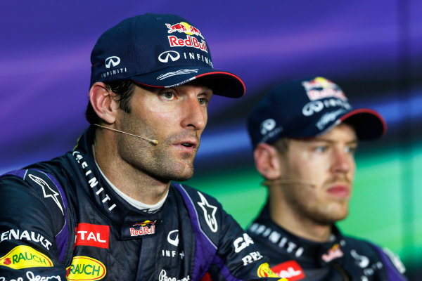 Sepang, Kuala Lumpur, Malaysia Sunday 24th March 2013 Mark Webber, Red Bull Racing, 2nd position, and Sebastian Vettel, Red Bull Racing, 1st position, in the post race Press Conference. World Copyright: Charles Coates/LAT Photographic ref: Digital Image _N7T6386