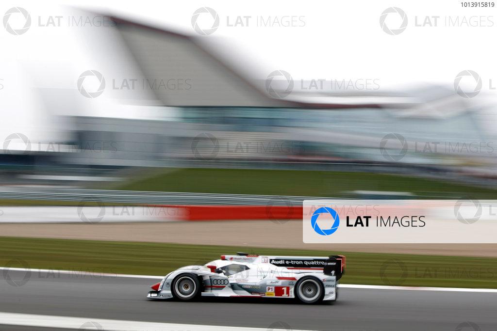 2013 FIA WEC Championship, Silverstone, Northamptonshire. 12th - 14th April 2013. Andre Lotterer / Benoit Treluyer / Marcel Fassler Audi R18 e-tron quattro World Copyright: Ebrey / LAT Photographic.