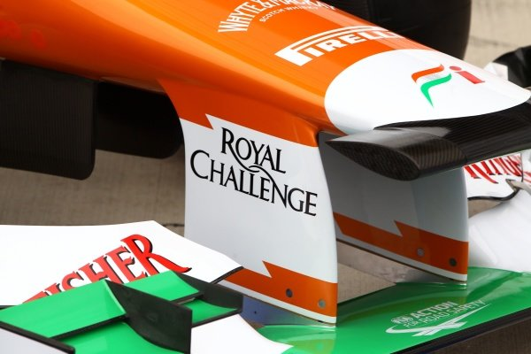 Force India VJM05 front wing and nose detail. Sahara Force India VJM05 Unveil, Silverstone, England, Friday 3 February 2012.