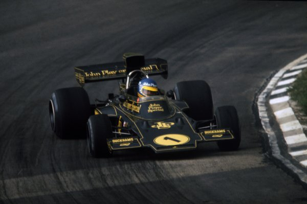 1974 British Grand Prix.Brands Hatch, Great Britain. 20 July 1974.Ronnie Peterson, Lotus 72E-Ford, 10th position, action.World Copyright: LAT PhotographicRef: 35mm transparency 74GBR