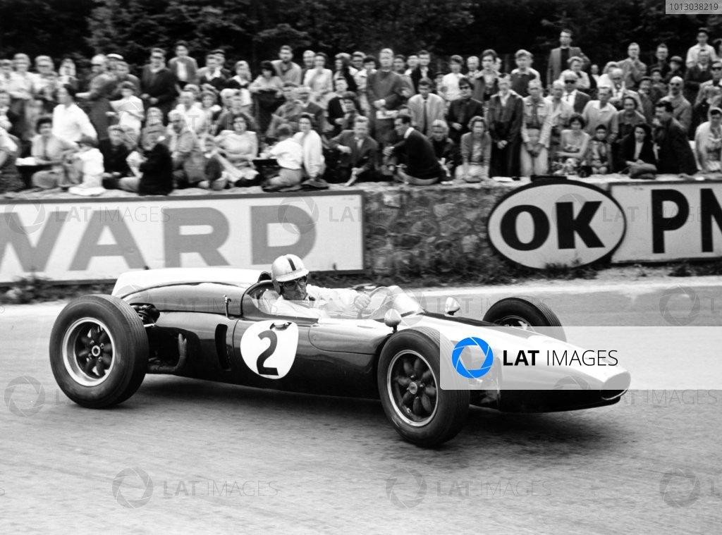 1960 Belgian Grand Prix.Spa-Francorchamps, Belgium.Jack Brabham (Cooper T53-Climax), 1st position. Ref-8687B/27.World Copyright - LAT Photographic