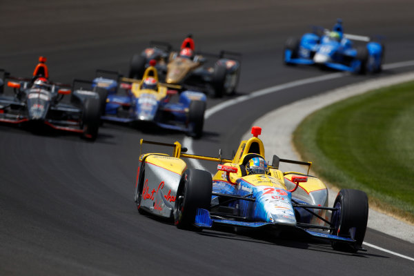 29 May, 2016, Indianapolis, Indiana, USA Townsend Bell leads Alex Tagliani ?2016, Phillip Abbott LAT Photo USA