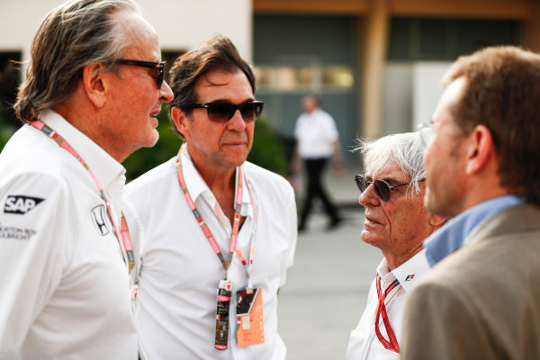 Bahrain International Circuit, Sakhir, Bahrain.  Sunday 16 April 2017. Mansoir Ojjeh, CEO, TAG, with Bernie Ecclestone, Chairman Emiritus of Formula 1, and guests. World Copyright: Sam Bloxham/LAT Images ref: Digital Image _J6I1848