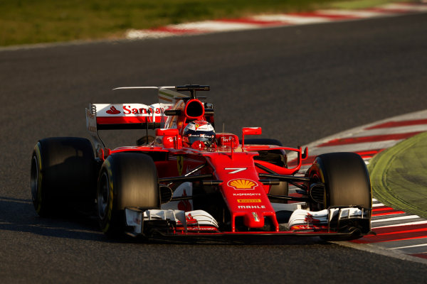 Circuit de Barcelona Catalunya, Barcelona, Spain. Thursday 02 March 2017. Kimi Raikkonen, Ferrari SF70H. World Copyright: Glenn Dunbar/LAT Images ref: Digital Image _X4I3264