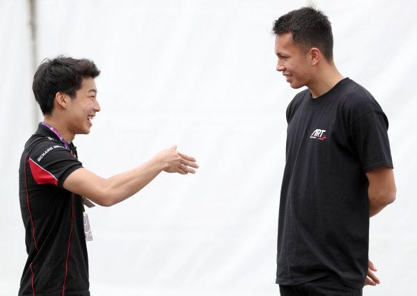 2017 FIA Formula 2 Round 2. Circuit de Catalunya, Barcelona, Spain. Thursday 11 May 2017. ART GP3 driver Nirei Fukuzumi talks to Art F2 driver  Alexander Albon Photo: Jed Leicester/FIA Formula 2. ref: Digital Image JL2_9849