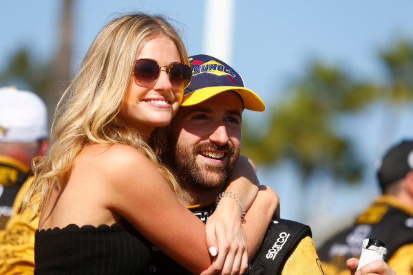 2017 Verizon IndyCar Series Toyota Grand Prix of Long Beach Streets of Long Beach, CA USA Sunday 9 April 2017 James Hinchcliffe and girlfriend Rebecca Dalton World Copyright: Phillip Abbott/LAT Images ref: Digital Image lat_abbott_lbgp_0417_15154