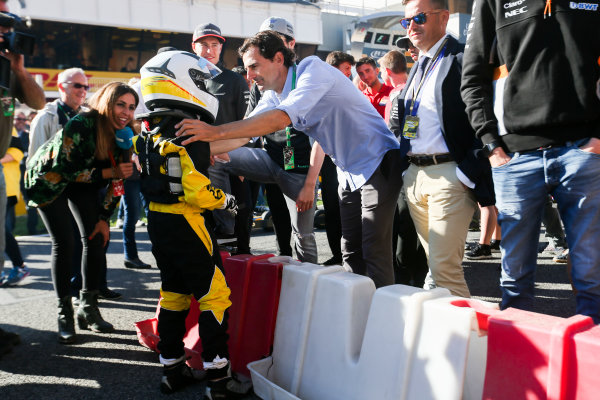 Circuit de Catalunya, Barcelona, Spain. Thursday 11 May 2017. Pedro de la Rosa, meets a junior RACC Karter. World Copyright: Dom Romney/LAT Images ref: Digital Image AM1T9959