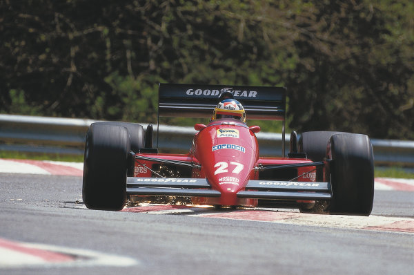 Spa-Francorchamps, Belgium.17 May 1987.Michele Alboreto (Ferrari F187).Ref-87 BEL 09.Please Note: This image is available as a 30mb+ CMYK Tiff scan upon request.World Copyright - LAT Photographic