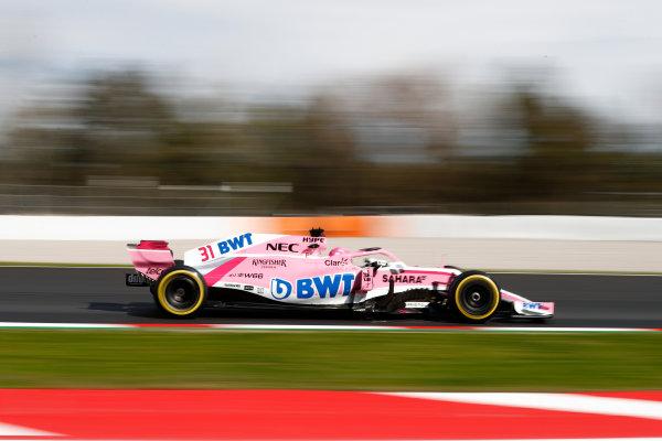 Circuit de Catalunya, Barcelona, Spain. Friday 09 March 2018. Esteban Ocon, Force India VJM11 Mercedes. World Copyright: Glenn Dunbar/LAT Images ref: Digital Image _31I2632