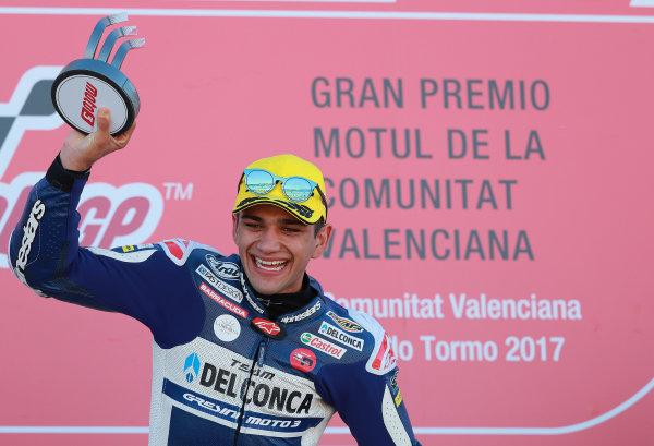 2017 Moto3 Championship - Round 18 Valencia, Spain  Sunday 12 November 2017 Podium: Race winner Jorge Martin, Del Conca Gresini Racing Moto3  World Copyright: Gold and Goose Photography/LAT Images  ref: Digital Image 705971