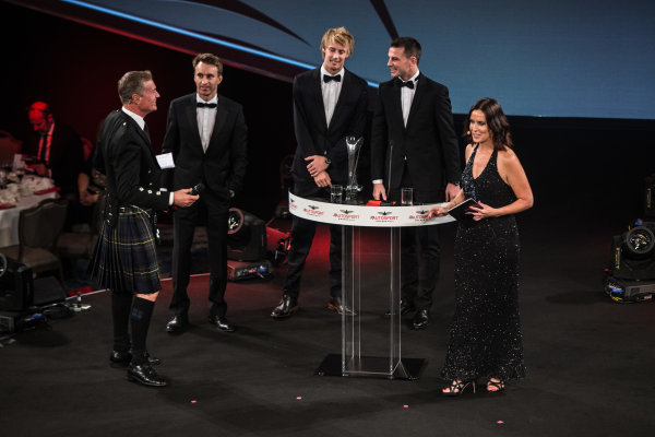 2017 Autosport Awards Grosvenor House Hotel, Park Lane, London. Sunday 3 December 2017. WEC Champions Brendon Hartley, Timo Bernhard and Earl Bamber on stage. World Copyright: Joe Portlock/LAT Images  ref: Digital Image _L5R8891