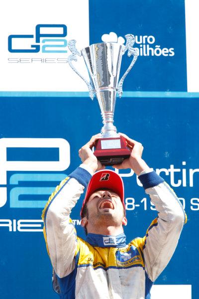 Sunday Race.Luca Filippi (ITA, Super Nova Racing) celebrates his victory on the podium. World Copyright: Glenn Dunbar / GP2 Series Media Service.Ref: _3GD3269 jpg