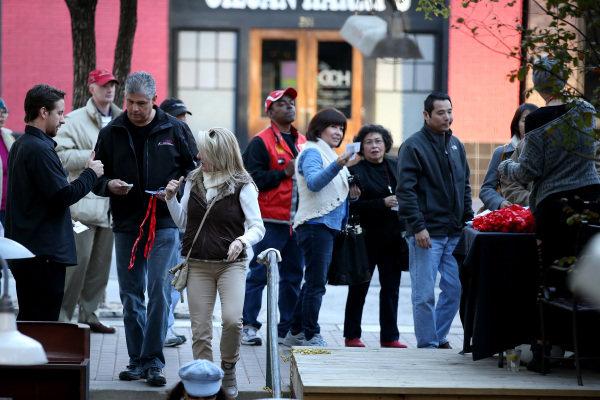 Fans arrive for the FOTA Fans Forum. FOTA Austin Fans Forum, Cedar Street Courtyard, Austin, Texas, Wednesday 13 November 2013.