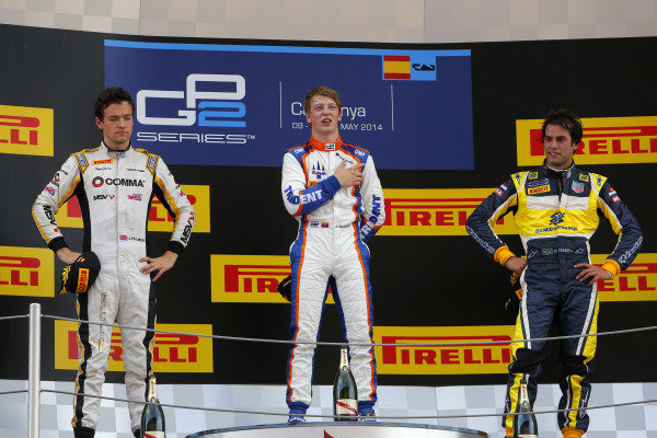 Race 1 podium and results: 1st Johnny Cecotto (COL) Trident, centre. 2nd Jolyon Palmer (GBR) DAMS, left. 3rd Felipe Nasr (BRA) Carlin, right. GP2 Series, Rd2, Barcelona, Spain, 9-11 May 2014.