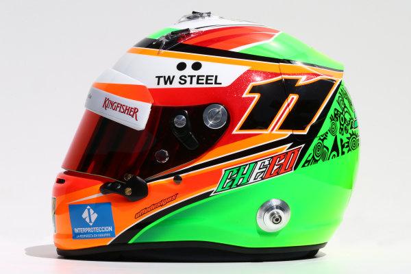 Albert Park, Melbourne, Australia. Thursday 13 March 2014. The helmet of Sergio Perez (MEX) Sahara Force India F1. World Copyright: xpb Images/LAT Photographic. ref: Digital Image 2014helmets22