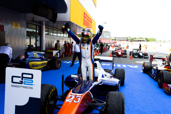2014 GP2 Series Round 2 - Race 1. Circuit de Catalunya, Barcelona, Spain. Saturday 10 May 2014. Johnny Cecotto (VEN, Trident), celebrates his win Photo: Malcolm Griffiths/GP2 Series Media Service. ref: Digital Image F80P2117