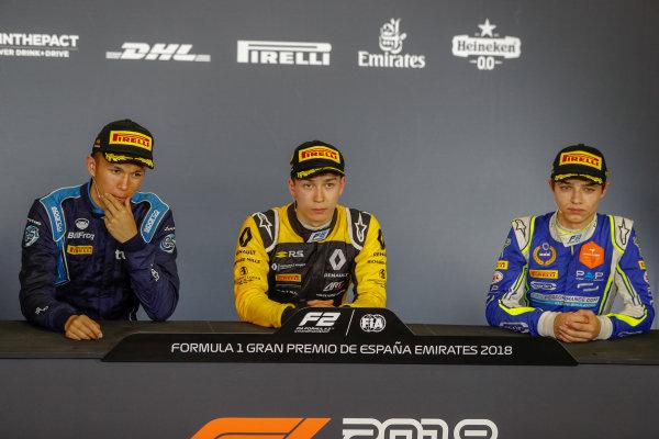 Alexander Albon (THA, DAMS),Jack Aitken (GBR, ART Grand Prix) and Lando Norris (GBR, Carlin) in the press conference.