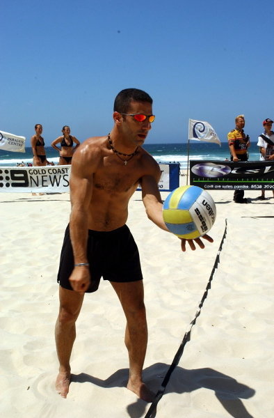Tony Kanaan (BRA) gets in some volleyball practice.