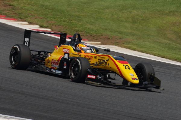 2017 Japanese Formula 3 Championship. Fuji, Japan. 8th - 9th July 2017. Rd 12 & 13. Rd12 Winner Mitsunori Takaboshi ( #23 B-MAX NDDP F3 ) action World Copyright: Yasushi Ishihara / LAT Images. Ref: 2017JF3_Rd12&13_003