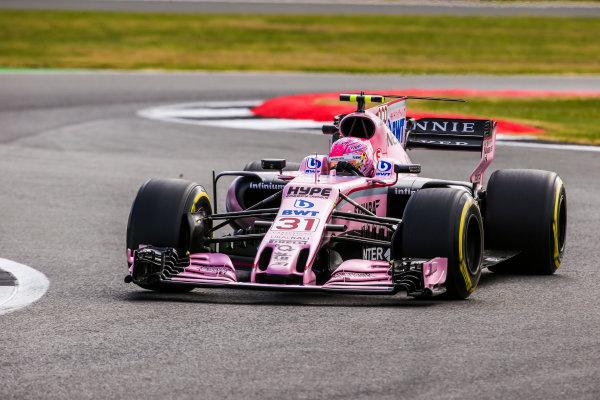 Silverstone, Northamptonshire, UK.  Friday 14 July 2017. Esteban Ocon, Force India VJM10 Mercedes. World Copyright: Charles Coates/LAT Images  ref: Digital Image AN7T4210