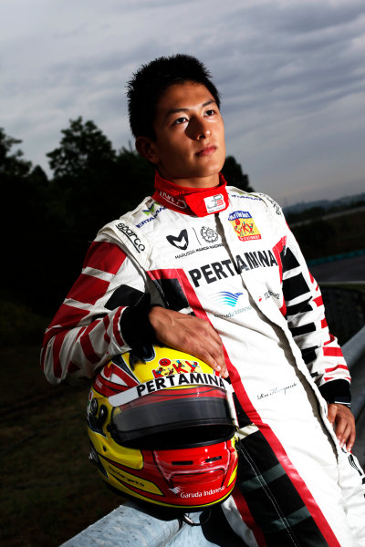 Round 6. Hungaroring, Budapest, Hungary, 28th July 2011.Thursday Preview. Rio Haryanto, (INA, Marussia Manor Racing) winner of race 9 at round five at the Nurburgring, Germany. Portrait. Photo: Drew Gibson/GP3 Media Service. ref: Digital Image DG5D7892