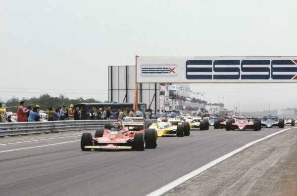 Dijon-Prenois, France. 29 June-1 July 1979.Gilles Villeneuve (Ferrari 312T4), leads Jody Scheckter (Ferrari 312T4), Jean-Pierre Jabouille (Renault RS10), Rene Arnoux (Renault RS10) and Nelson Piquet (Brabham BT48 Alfa Romeo) at the start, action. World Copyright: LAT Photographic.Ref: 79FRA09.
