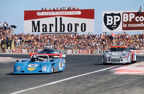Paul Ricard, France. 15th August 1974. Rd 8.Hans Muller-Perschl/Eberhard Braun (KMW SP30 Porsche Turbo), retired, leads Herbert Muller/Gijs van Lennep (Porsche Carrera RSR), 7th position, action. World Copyright: LAT Photographic.Ref:  74SCARS