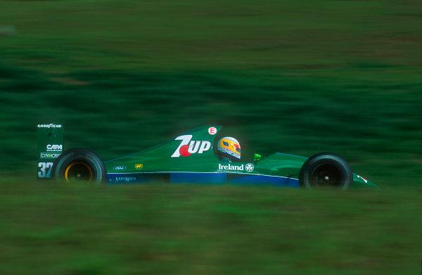 1991 Brazilian Grand Prix.Interlagos, Sao Paulo, Brazil.22-24 March 1991.Bertrand Gachot (Jordan 191 Ford) 13th position.Ref-91 BRA 03.World Copyright - LAT Photographic