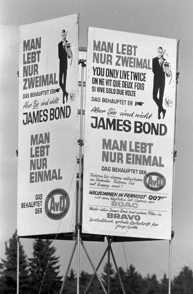 Advertising board for the upcoming James Bond movie.