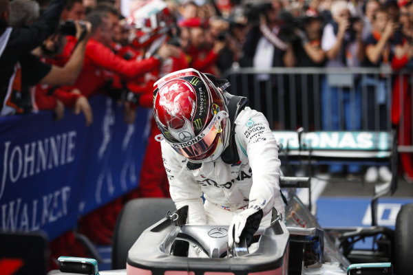Lewis Hamilton, Mercedes AMG F1, 2nd position, arrives in Parc Ferme