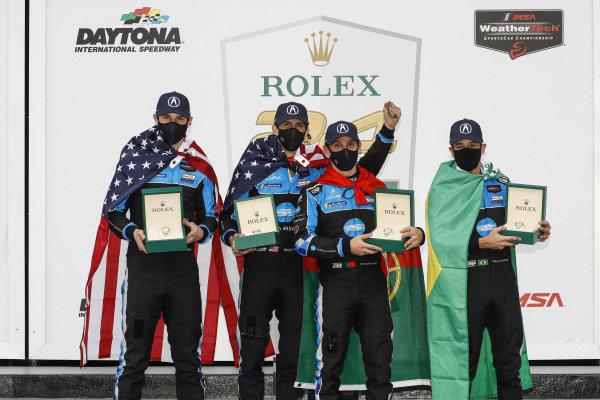 #10: Konica Minolta Acura ARX-05 Acura DPi, DPi: Ricky Taylor, Filipe Albuquerque, Alexander Rossi, Helio Castroneves, podium, with Rolex Cosmograph Daytona watches