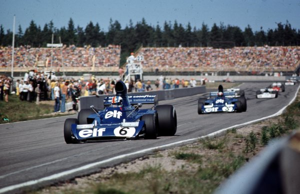 1973 Swedish Grand Prix.  Anderstorp, Sweden. 15-17th June 1973.  Francois Cevert leads Jackie Stewart (both Tyrrell 006 Ford). They finished in 3rd and 5th positions respectively.  World Copyright - LAT Photographic