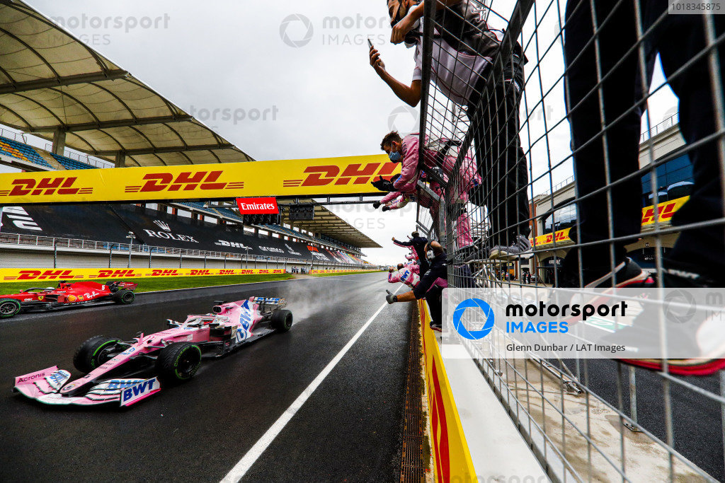 Sergio Perez, Racing Point RP20, 2nd position, crosses the line to cheers from his team