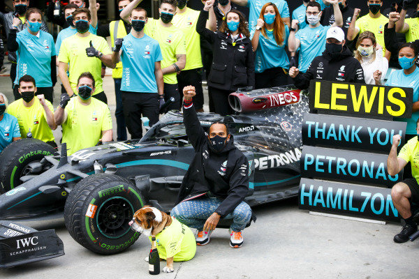 Lewis Hamilton, Mercedes-AMG Petronas F1, 1st position, and the Mercedes team celebrate after having secured a seventh world drivers championship title