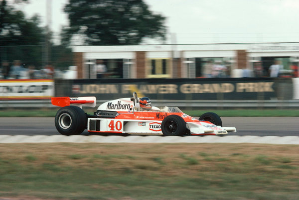1977 British Grand Prix. Silverstone, England.14-16 July 1977.Gilles Villeneuve (McLaren M23 Ford) 11th position on his Grand Prix debut.World Copyright - LAT Photographic