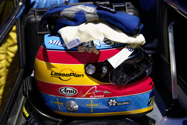 Fernando Alonso's helmet.